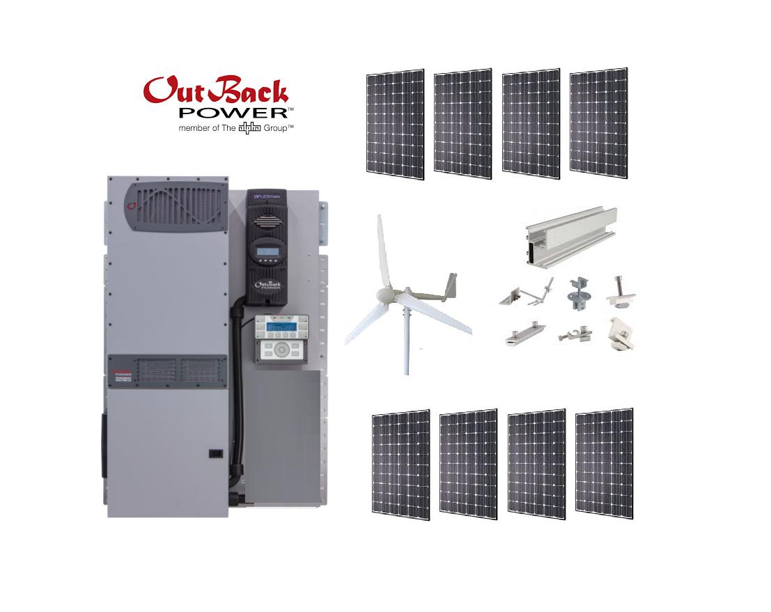 4 2kW Wind / Solar Hybrid System / 2kW Wind Turbine + 2 2kW Solar